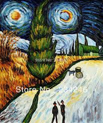 online get cheap cypress wall aliexpress com alibaba group original quality vicent van gogh painting road with cypress and star landscape wall painting for home decor