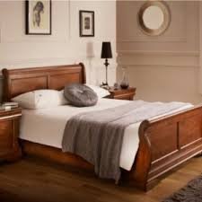 Cherry Wood Sleigh Bed Bedroom Cherry Wood King Size Sleigh Bed With Comfortable Pillow