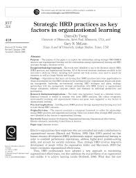 strategic hrd practices as key factors in organizational learning