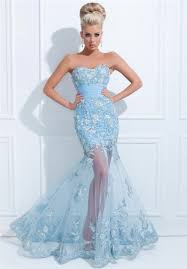 Light Blue Mermaid Dress Mermaid Strapless Long Light Blue Tulle Floral Applique Prom Dress