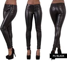 ladies women wet leather look leggings trousers slim fit