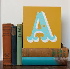 letter a b or c screen printed wooden block by made by sophie