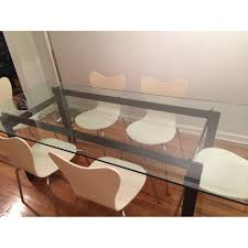 cb2 bolt glass dining table dining and entertaining areas
