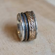 hippie bands silver band gold spinner ring boho ring sterling silver