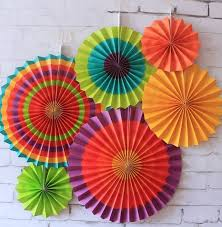 paper fans 6pcs set colorful tissue paper fan craft party event decoration