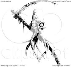 clipart of a black and white tentacled grim reaper skull and