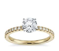 engagement rings yellow gold pavé diamond engagement ring in 18k yellow gold 1 4 ct tw