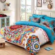 Tribal Print Bedding Blue And Red Modern Chic Tribal Circle Print 100 Egyptian Cotton