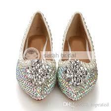 Prom Shoes Flats 2015 New Rhinestone Crystal Imitation Pearl Pointed Toe Wedding