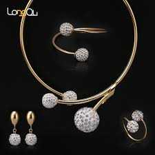 necklace bracelet earring ring images Simple crystal ball bridal jewelry sets dubai gold color plated jpg