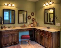 Green Bathroom Vanities Brown Wooden Corner Bathroom Vanity With Round White Sink Under