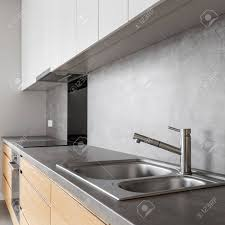 modern white wood kitchen cabinets modern white and wooden kitchen cabinets with concrete countertop
