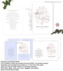 blue wedding program template folded wedding program template