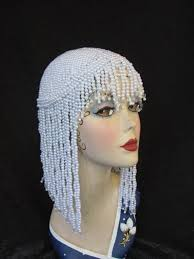 pearl headpiece hat flapper headdress wedding pearl headpiece pearl headpiece