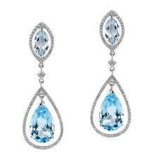 dimond drop natalie k 18k white gold blue topaz diamond drop earrings