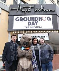 andy karl mr groundhog barrett doss and danny rubin visit the day picture id633590910