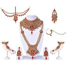 wedding necklace bride images Lucky jewellery for bride designer bridal lct red cz stone wedding jpg