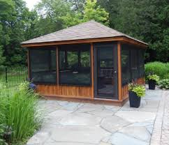 Patio Gazebo Ideas by This Gazebo Features A Low Knee Wall And Large Screened Walls