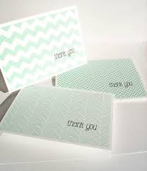 modern thank you cards mint thank you notes chevron stripes