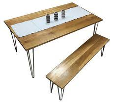 Kitchen Tables And Benches by Solid Maple Hairpin Dinning Table With Chairs And Bench