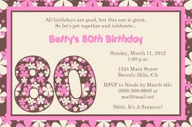 80th birthday party invitation wording cimvitation