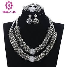 chunky crystal necklace sets images Metallic silver crystal chunky statement necklace set african jpg
