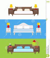 Wooden Furnitures Set Bed Vector Set Modern Bedroom Interior Wooden Furniture Set B