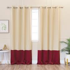 46 Inch Length Curtains Home Solid Thermal Insulated Color Block Blackout 84 Inch