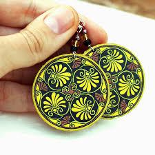 mustard yellow brown plant theme leaf earrings decoupage earrings
