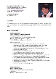 Position Desired Resume Beautiful Casino Dealer Resume Photos Simple Resume Office