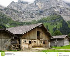 Cliff Barn Cow Barn In Mountain Landscape Stock Photo Image 49312314