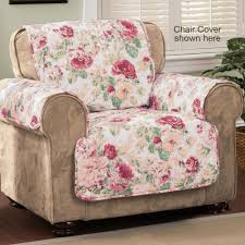 Pink Sofa Slipcover by English Floral Tea Rose Quilted Furniture Protectors
