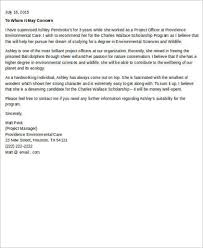 sample letter of recommendation for scholarship 8 examples in