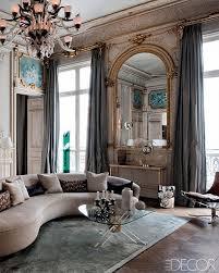 Parisian Living Room Decor Glam Grand Salon Paris Apartment Gold Molding Gray Paneling Modern