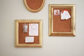 furniture example wooden framed cork board with grey wall for
