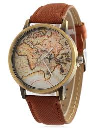 leather map unisex watches brown faux leather map quartz gamiss