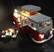 lego volkswagen t1 camper van updated led light with picnic table for lego 10220 and 21001