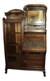 Drop Lid Secretary Desk by Antique Oak Secretary Desk Display Cabinet Chairish