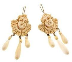 girandole earrings carved ivory gold cherub girandole earrings item