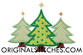 tree trio machine embroidery and applique designs