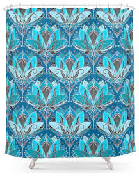 society6 deco lotus rising black teal and turquoise pattern