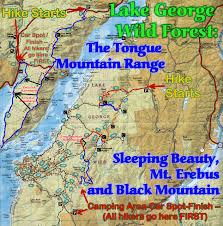 Adirondack Mountains Map Lake George Wild Forest Sleeping Beauty Erebus Mountain Black