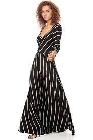 black white striped quarter sleeve maxi dress cicihot
