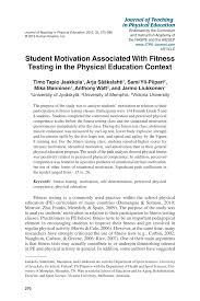 student motivation associated with fitness testing in the physical