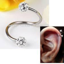 cartilage earrings 16g clear cz stainless steel flexo twist ear helix
