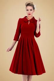 women vintage 50s red velvet swing dress peter pan collar 3 4