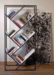 modern sloping bookshelves with metal frame design ideas feat