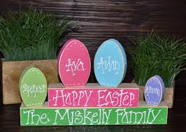 easter block set personalized wood block love set home decor