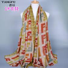 arab wrap fashion women s scarves letter f shinning scarf muslim arab wrap