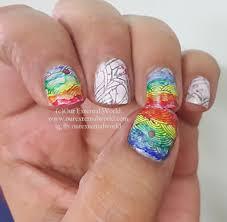 color nail art rainbow rain